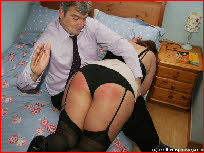 Drunk wife spanked over her husband's knee